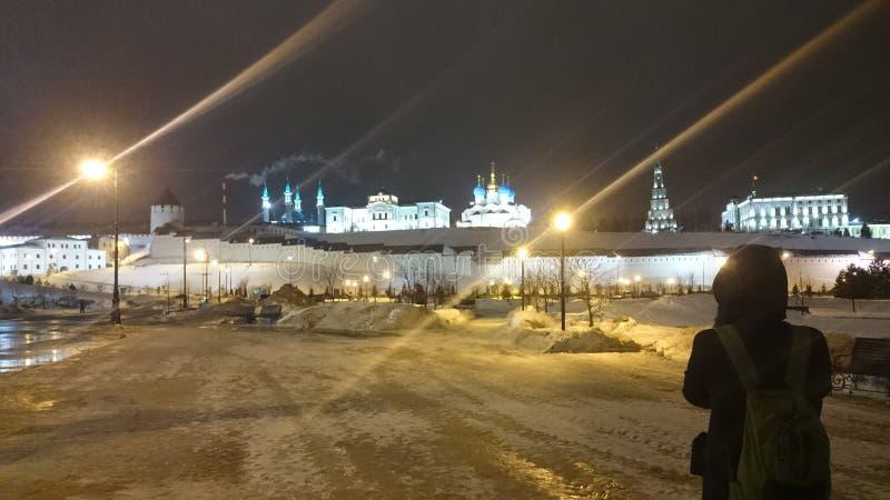 View of the illuminated Kremlin in the winter evening, Kazan, Russia stock photography