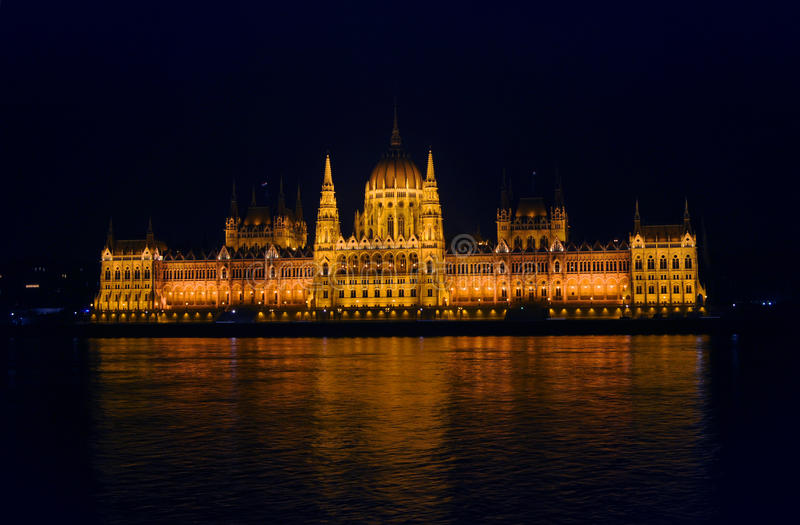 Download View On The Illuminated Parliament Of Budapest Stock Photo - Image of exterior, architecture: 83706458