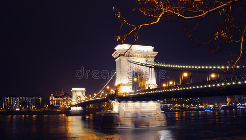 Download View On The Illuminated Szechenyi Chain Bridge Stock Photo - Image: 83706714
