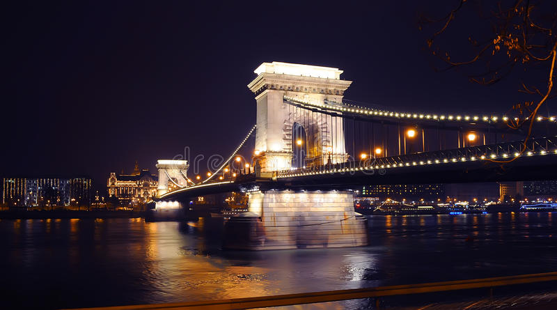 Download View On The Illuminated Szechenyi Chain Bridge Stock Photo - Image: 83706758