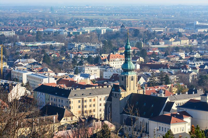 View of Baden near Vienna. Austria. View of the imperial spa town of Baden near Vienna on Christmas Eve from the city park. Austria royalty free stock image