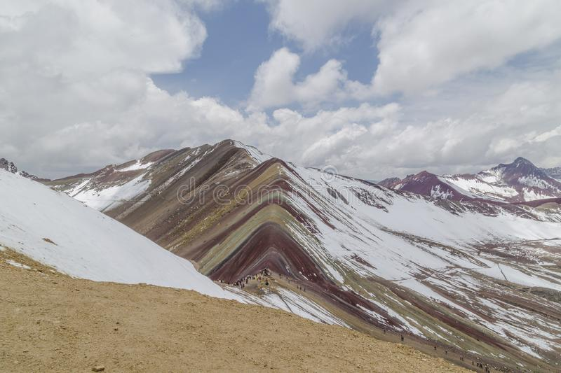 View of the incredible rainbow mountains outside of Cusco, Peru. The quantities are a variety of colors of mineral deposits in the. Soil, amazing, andes stock photo