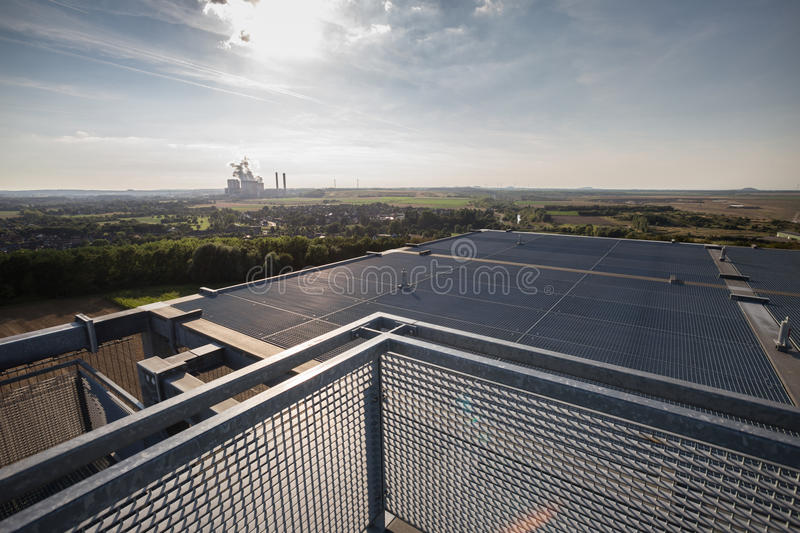 View from the indemann watchtower inden germany stock photos
