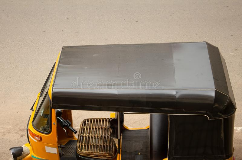 View of the Indian Auto Tuk Tuk waiting for passengers, Chennai, India. Popular mode of transport for short trips within indian cities stock images