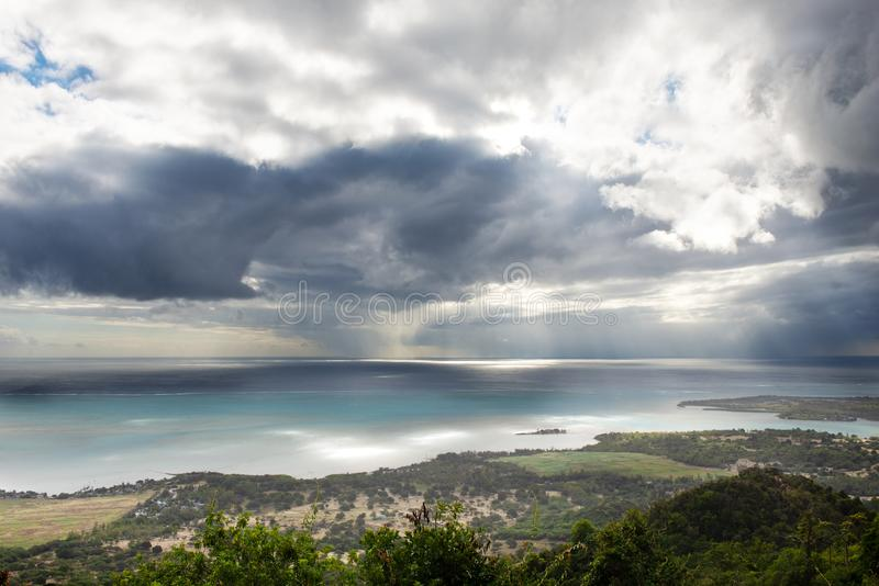 View of the Indian Ocean from the coast of the island of Mauritius in inclement weather. Beautiful view of the Indian Ocean from the coast of the island of royalty free stock photo