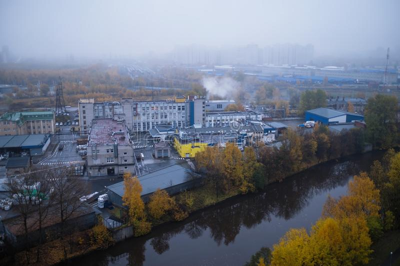 View of industrial area of the city with factories. royalty free stock photography