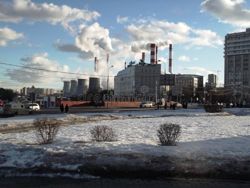 Industrial buildings on Leninsky Prospekt in Moscow. View of an industrial buildings on Leninsky Prospekt in Moscow, Russia stock image