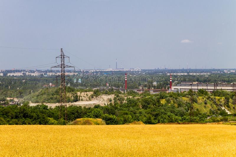 View on industrial district in Kremenchug city, Ukraine. View on the industrial district in Kremenchug city, Ukraine royalty free stock images