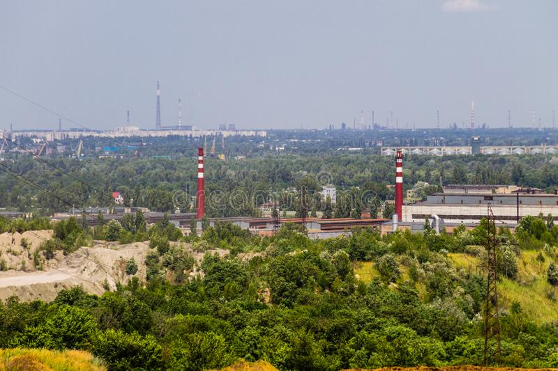View on industrial district in Kremenchug city, Ukraine. View on the industrial district in Kremenchug city, Ukraine royalty free stock photography