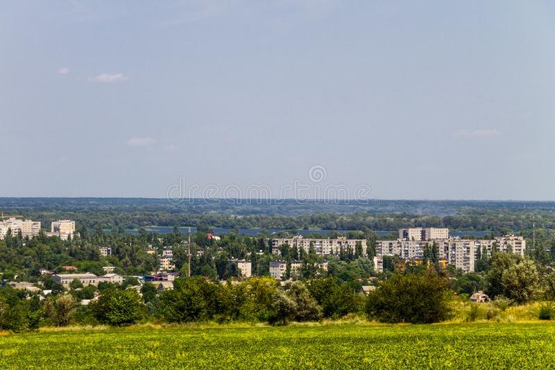 View on industrial district in Kremenchug city, Ukraine. View on the industrial district in Kremenchug city, Ukraine stock photos