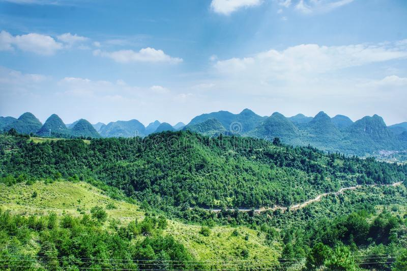 View of the infinite mountains in the country yard of China royalty free stock photography