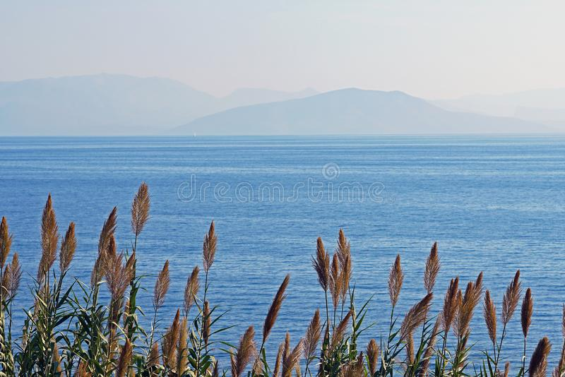 View of the inland sea of Corfu with the coasts of Albania as a background. In Greece royalty free stock photos