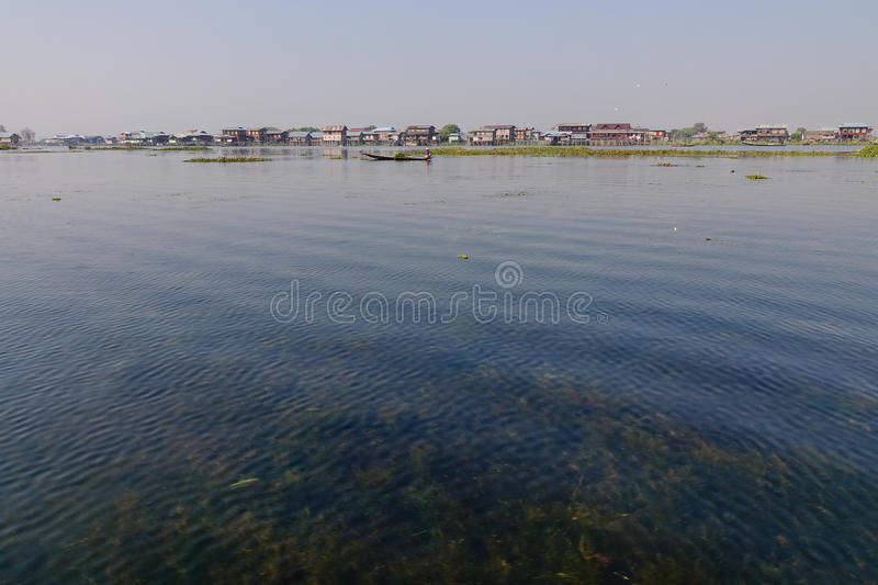 View of the Inle lake in Myanmar royalty free stock image