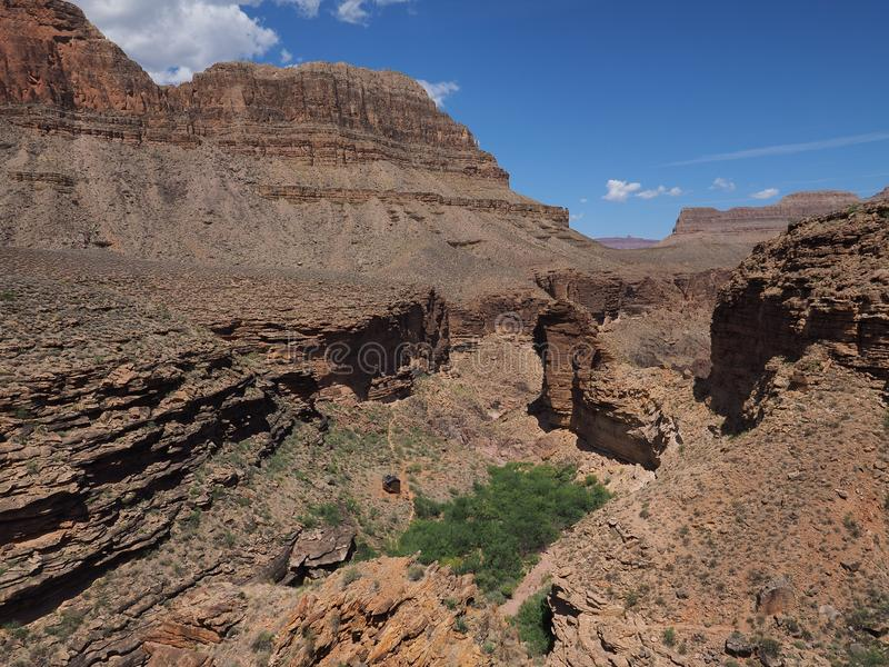 Grand Canyon National Park, Arizona. View of the inner canyon from the Tonto Trail in Grand Canyon National Park, Arizona stock images