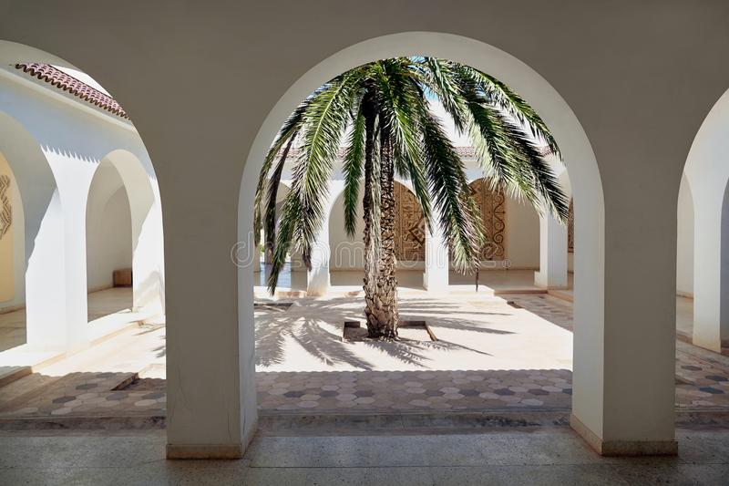 View of the inner courtyard in the museum in Tunisia. royalty free stock images