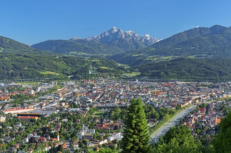 View of Innsbruck, Austria. Innsbruck, Austria. View of the city from observation point at Hungerburg district. Serles mountain of Stubai Alps is visible on the stock image