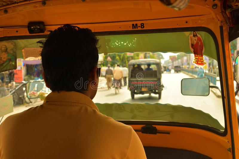 View from the inside of an auto-rickshaw in West Bengal, India.  royalty free stock photos