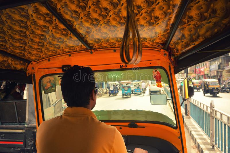 View from the inside of an auto-rickshaw in West Bengal, India stock photo