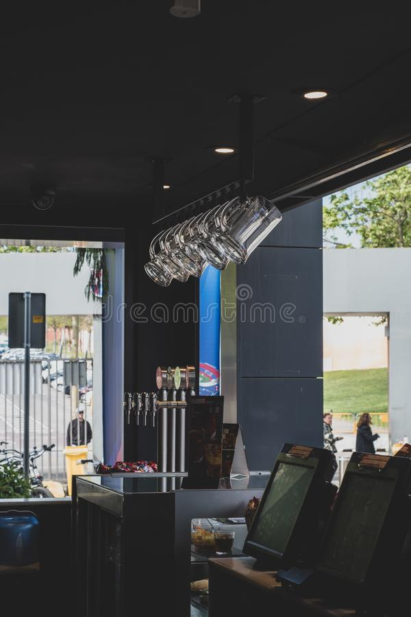 View from inside a bar at Barcelona Football Club. stock image