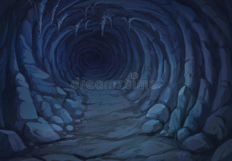 View from the inside of the cave. Illustration view from the inside of the cave at night vector illustration