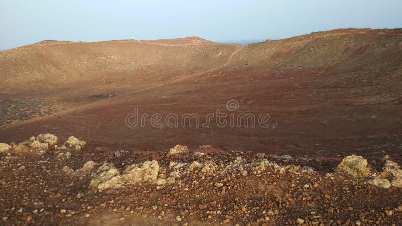 Lanzarote views. A view inside the crater of Montana Roja. A bit marsian stock photography