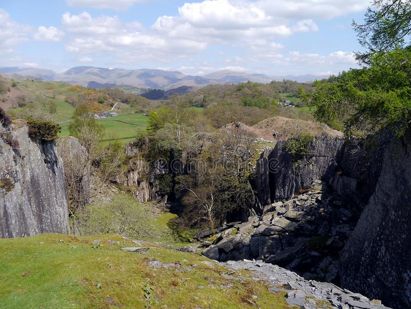 Disused slate quarry area above Tilberthwaite, Lake District stock image