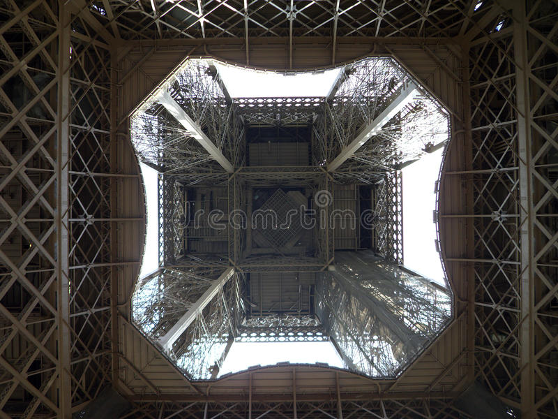 View inside Eiffel Tower royalty free stock photography