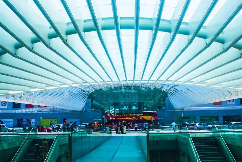 View inside Estação do Oriente, eastern station gare in Lisboa, Portugal stock image