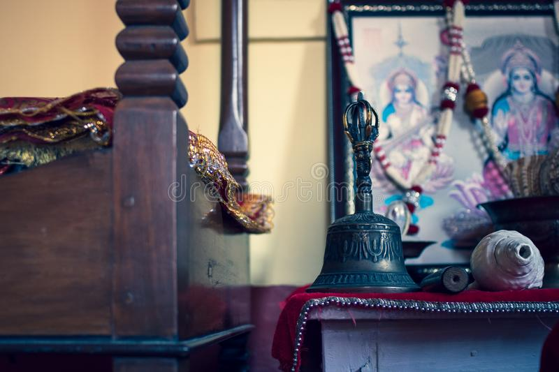 View of the inside of a Hindu place or worship at home. royalty free stock photo
