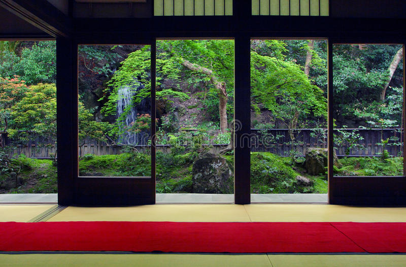 View from inside on a japanese garden in Kyoto royalty free stock images