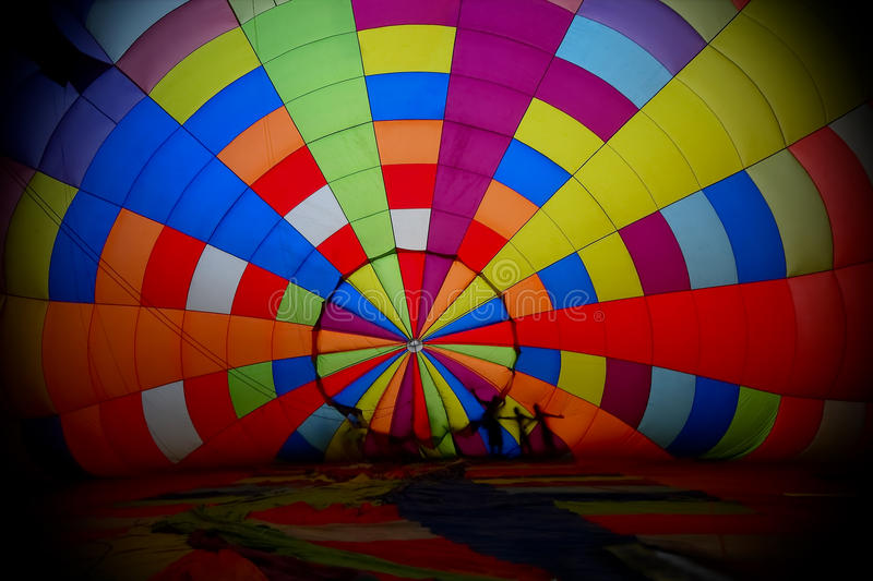 View inside a large balloon. View inside the large balloon in balloon festival stock photo