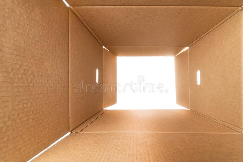 View from inside a large rough cardboard box royalty free stock photography