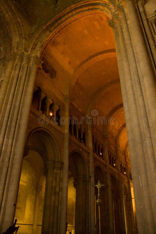 View inside Lisbon Cathedral: the gotic cloisters royalty free stock photos