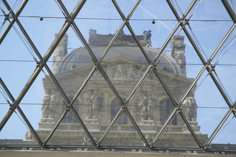 View from inside the Louvre Museum, Paris, France stock photo