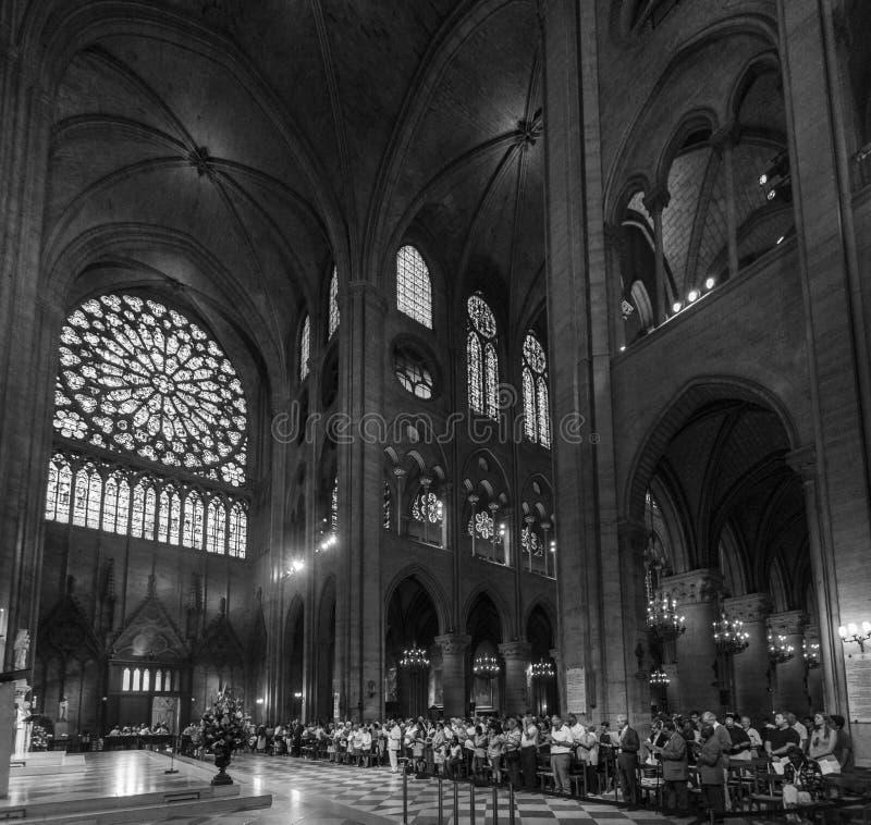 Inside Notre Dame de Paris royalty free stock image