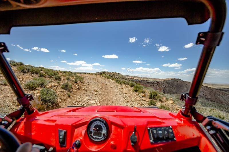 View from the inside of the off road vehicle White Rim Road Utah trails straight ahead on a sunny day stock images