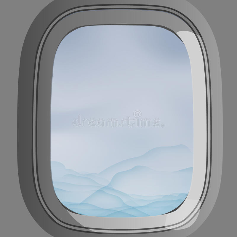 View from inside the plane looking out through the window see the cloud. On the sky royalty free illustration