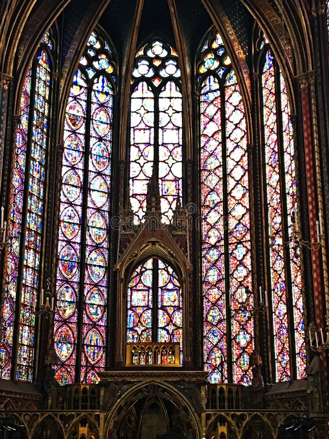 A view of the inside of Saint Chappell. In Paris royalty free stock images