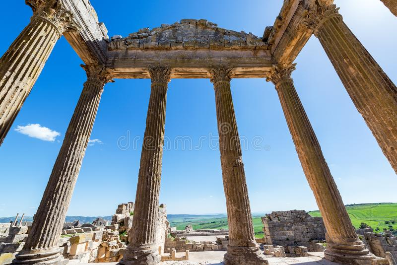 View from Temple in Ruins of Dougga. View from the inside of a temple in the ancient Roman ruins of Dougga in Tunisia stock photo