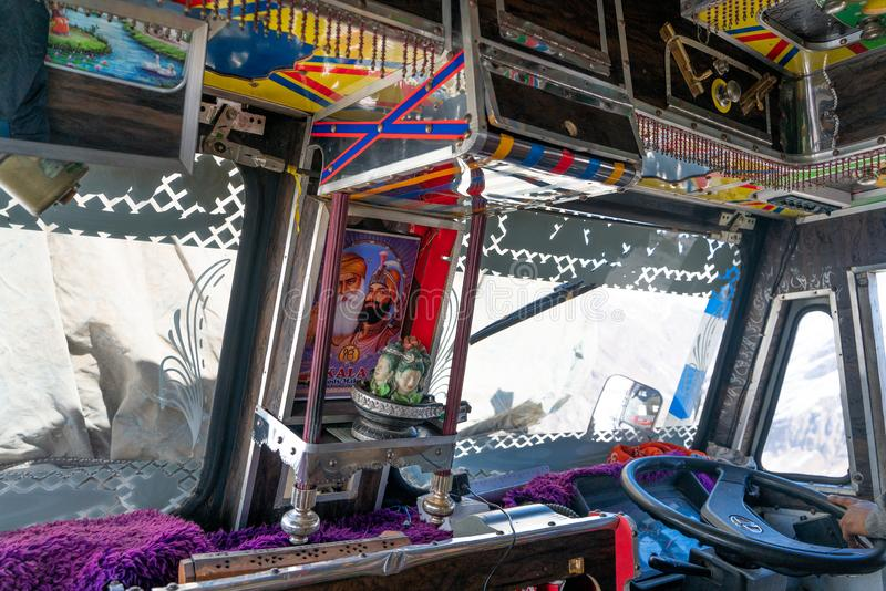 The view inside the traditional indian truck stock photos
