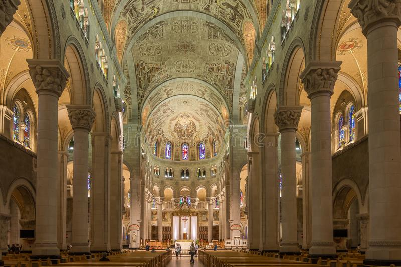 View at the Interior of Basilica Sainte Anne de Beaupre in Canada. BEAUPRE,CANADA - JUNE 17,2018 - View at the Interior of Basilica Sainte Anne de Beaupre. The royalty free stock photography