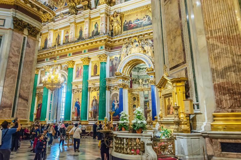 Interior decoration of St. Isaac`s Cathedral, Saint-Petersburg, Russia royalty free stock photos