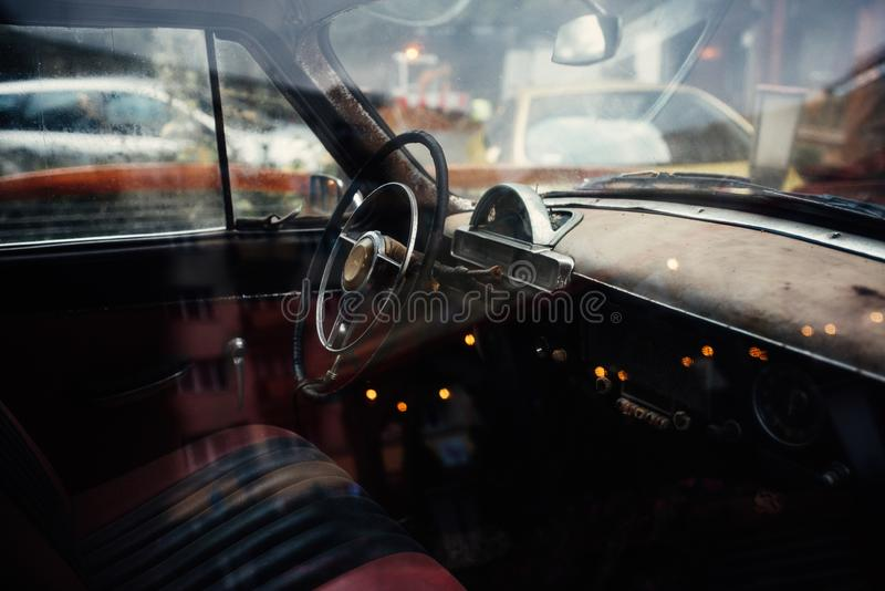 View of the interior of an exotic vintage car royalty free stock photography