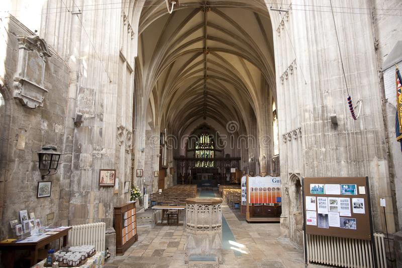 A view of the interior and nave of Crowland Abbey, Lincolnshire, United Kingdom - 27th April 2013 royalty free stock image