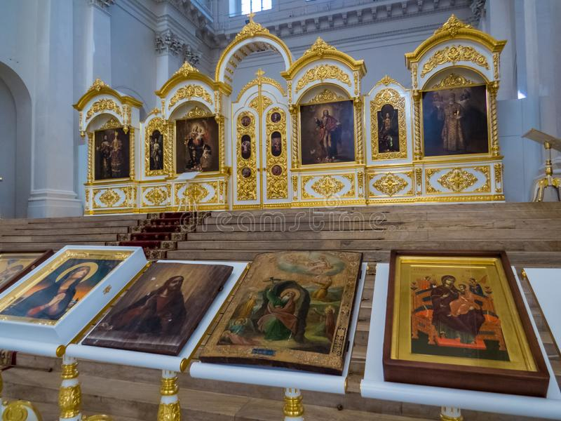 Smolny Cathedral, interior. St. Petersburg, Russia stock photography