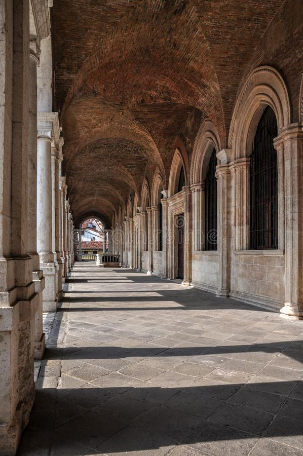 A view of the interior of the upper loggia of the Basilica Palladiana, Vicenza royalty free stock photo