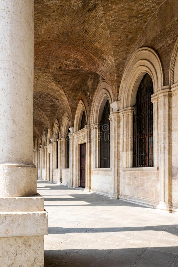 A view of the interior of the upper loggia of the Basilica Palladiana, Vicenza stock photo