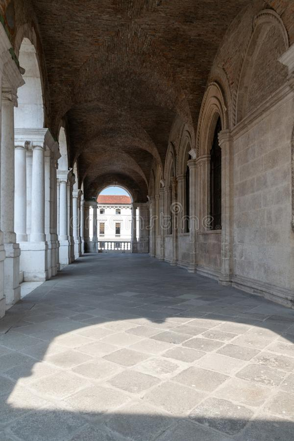 A view of the interior of the upper loggia of the Basilica Palladiana, Vicenza stock images