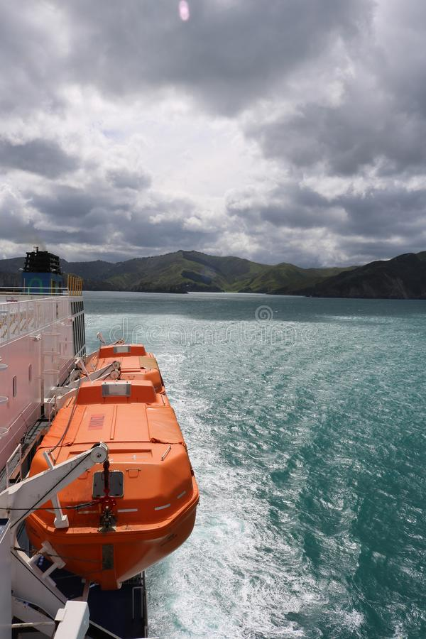 South Island, NZ from ferry entering Cook Strait royalty free stock images