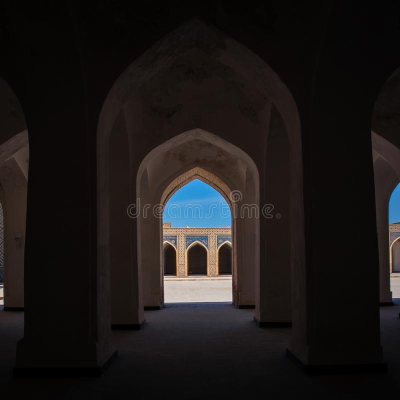 View of the internal galleries of the main Kalyan mosque in Bukhara stock images
